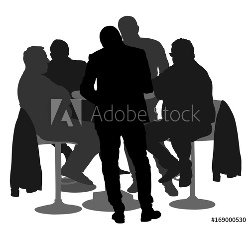 500x452 Many People Sitting And Talking Vector Silhouette Illustration