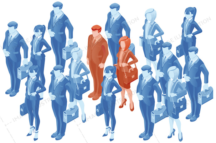 690x459 People Vector Human Resource Recruitment Isometric