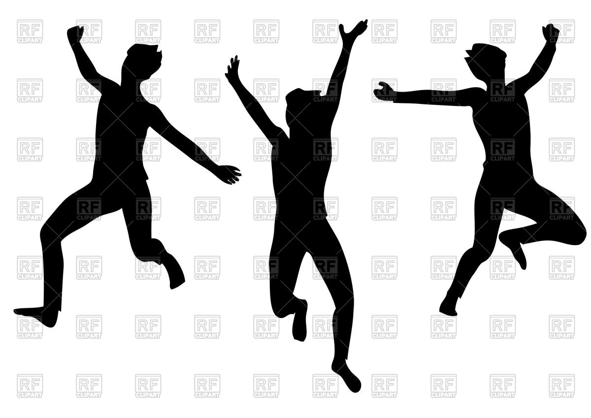 1200x849 Silhouettes Of Happy Jumping People Vector Image Vector Artwork