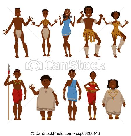 450x470 African Native Tribe People Vector Characters In Africa National