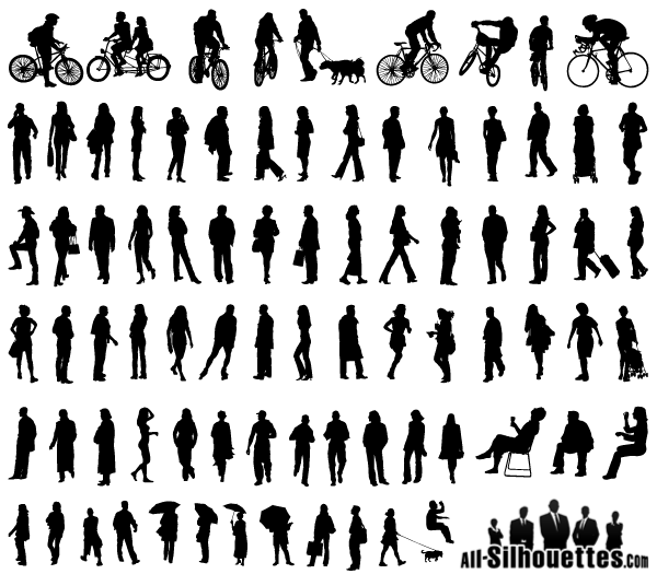 600x525 Free Vector Silhouettes Of People Standing, Sitting, Walking