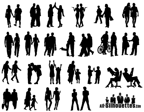 600x465 People In Couples Silhouettes Vector Free Free Vectors