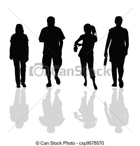 450x470 People Walking Black Silhouette Of Art Vector Illustration.
