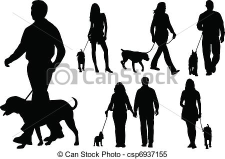 450x318 People Walking Dogs Silhouettes