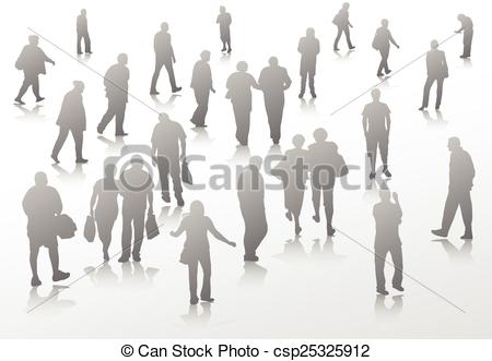 450x331 People Walking Silhouettes Vector Clip Art