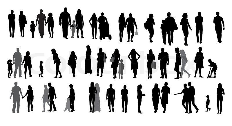 800x436 Set Of Silhouette Walking People And Children. Vector Illustration