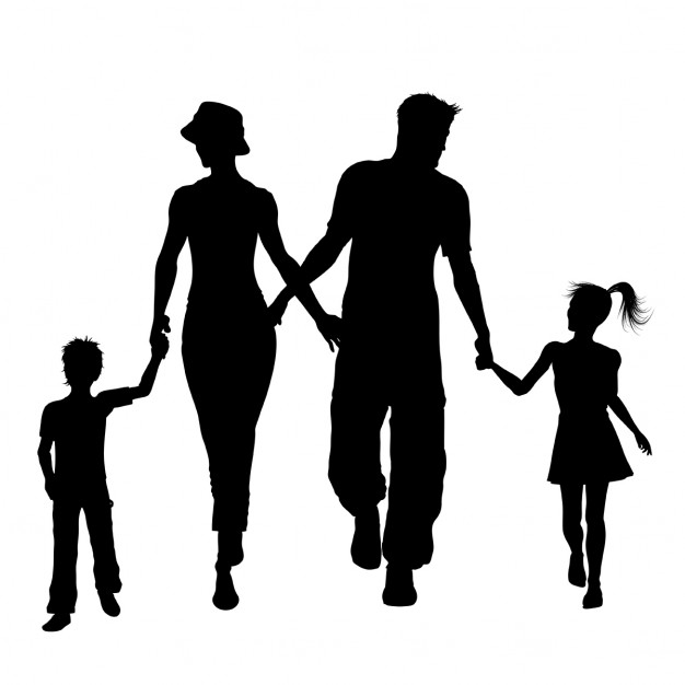 626x626 Silhouettes Of A Family Walking Vector Free Download