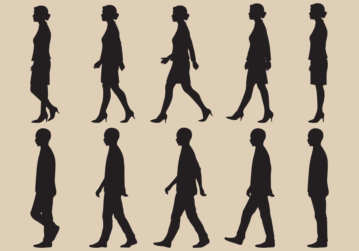 1400x980 Walk Cycle Silhouette Vectors