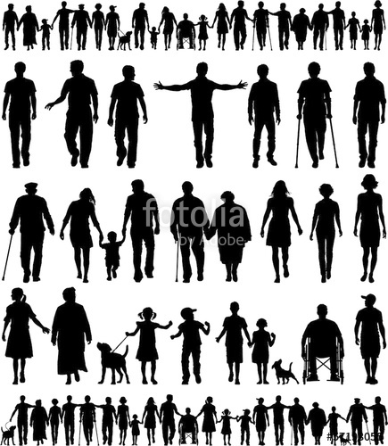 435x500 Editable Vector Silhouettes Of People Walking Hand In Hand Stock