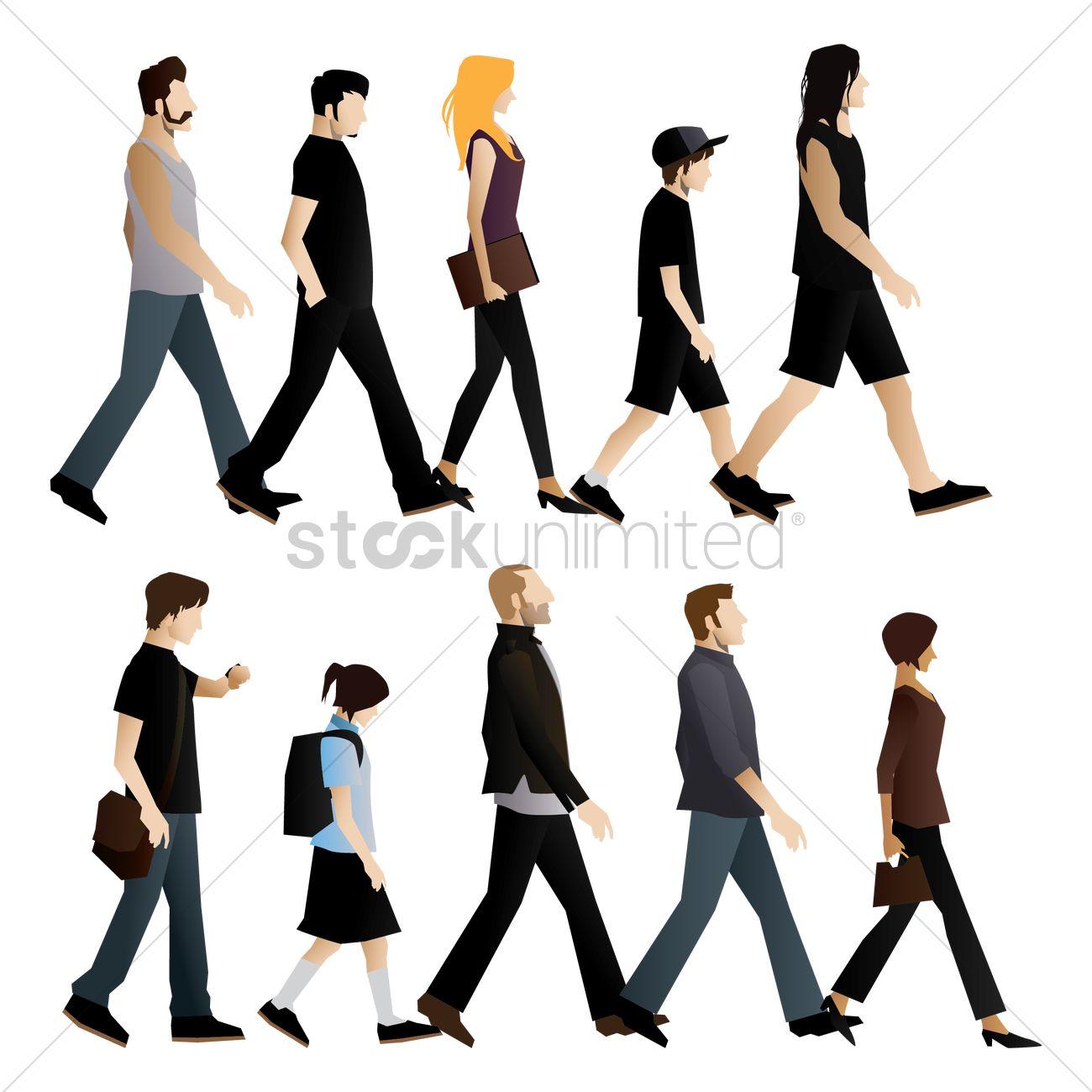 1300x1300 Free Set Of People Walking Vector Image