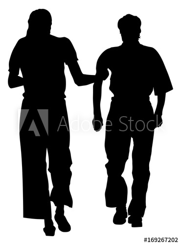 370x500 Nurse Helps Old Person To Walking Vector Silhouette Illustration