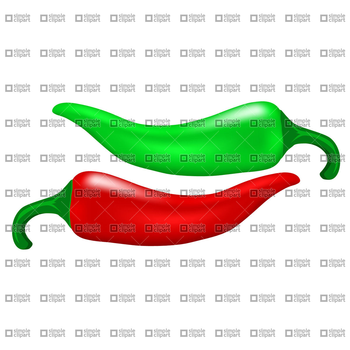 1200x1200 Red And Green Chili Pepper Vector Image
