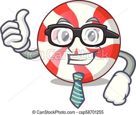 450x381 Businessman Peppermint Candy Character Cartoon Vector Illustration.
