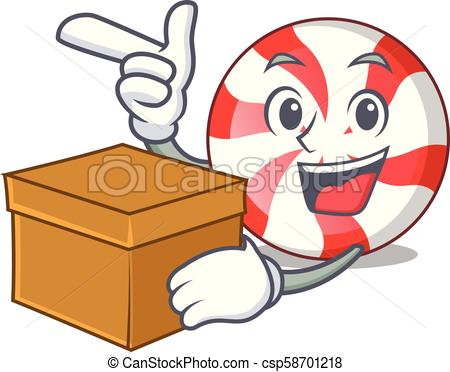 450x372 With Box Peppermint Candy Character Cartoon Vector Illustration.