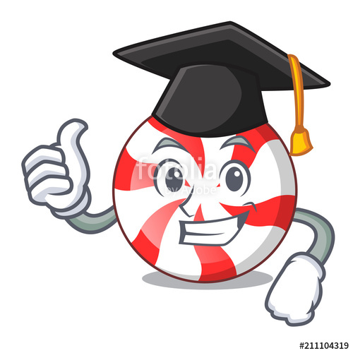 500x500 Graduation Peppermint Candy Character Cartoon Stock Image And