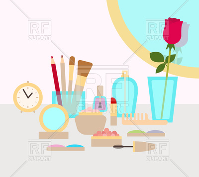 400x356 Make Up Table With Cosmetics, Mirror, Rose And Perfume Vector