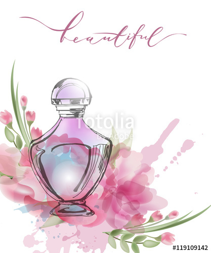 417x500 Beautiful Perfume Bottle With Blooming Beautiful Pink Flowers