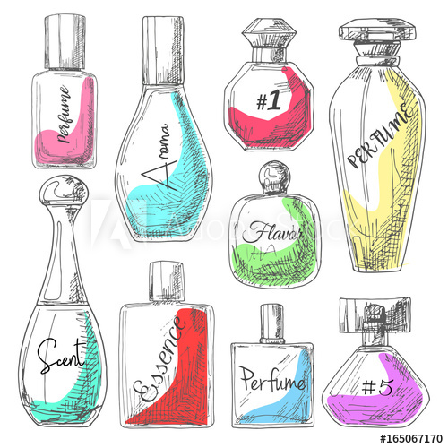 500x500 Set Of Different Bottles Of Perfume. Vector Illustration Of A
