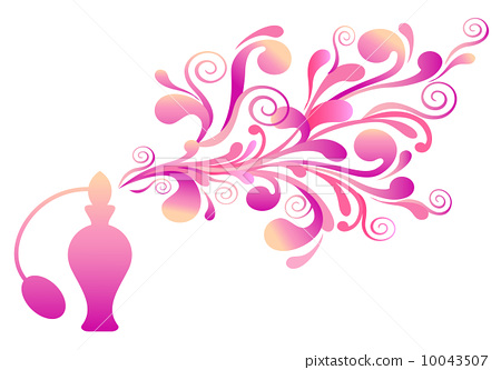 450x333 Pink Perfume Bottle With Floral Ornaments, Vector Background