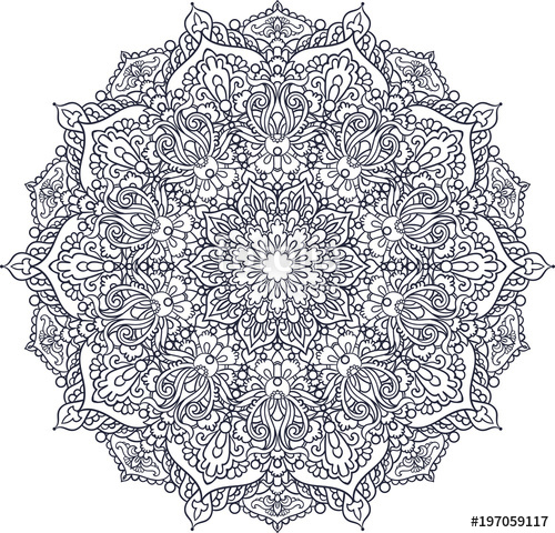 500x480 Mandala. Decorative Vector Element. For Coloring.islam, Indian