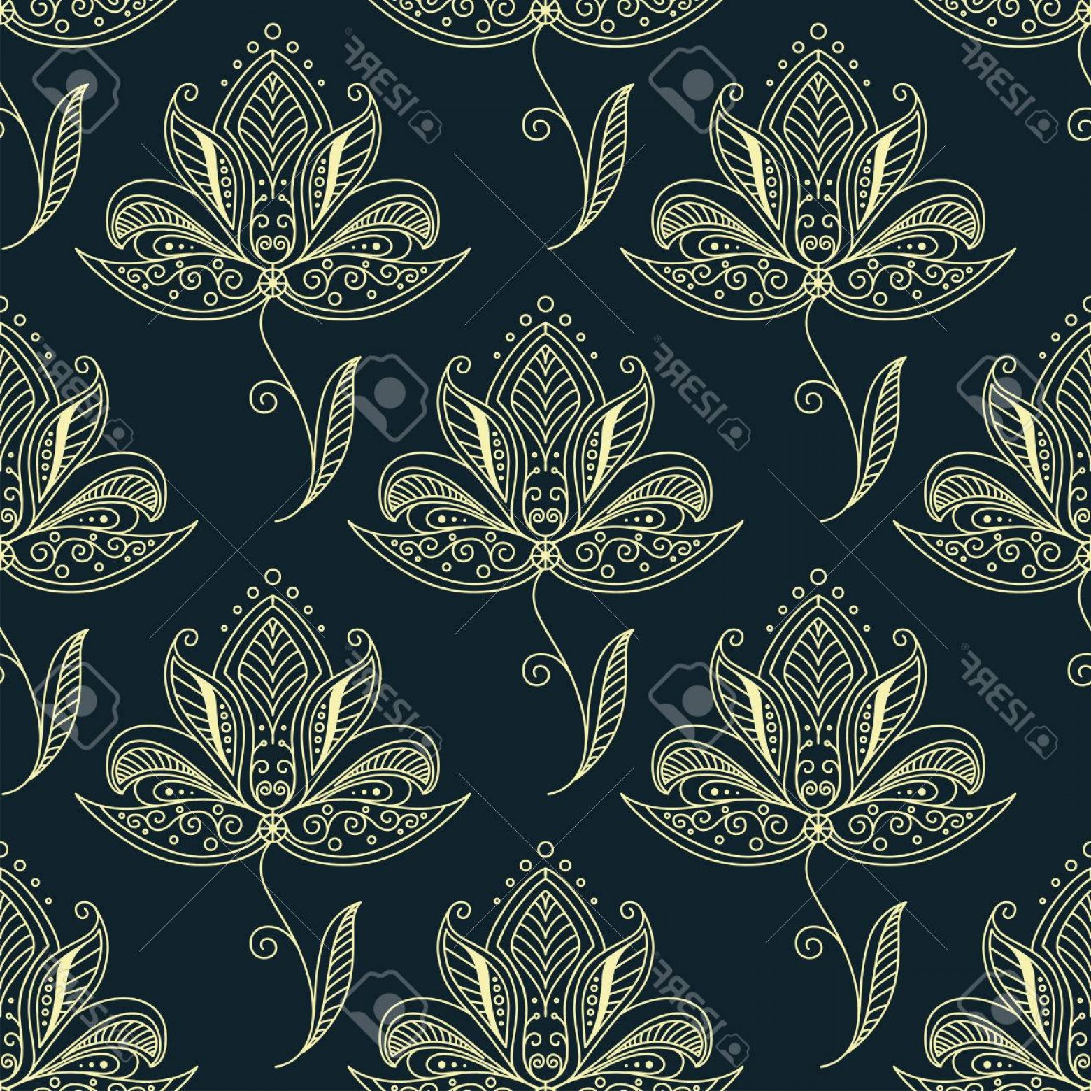 1560x1560 Photostock Vector Dainty Yellow Flowers In Persian Style Seamless