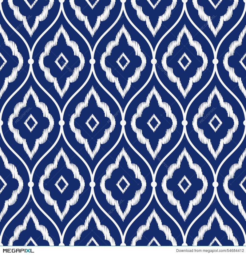 800x830 Seamless Porcelain Indigo Blue And White Vintage Persian Ikat