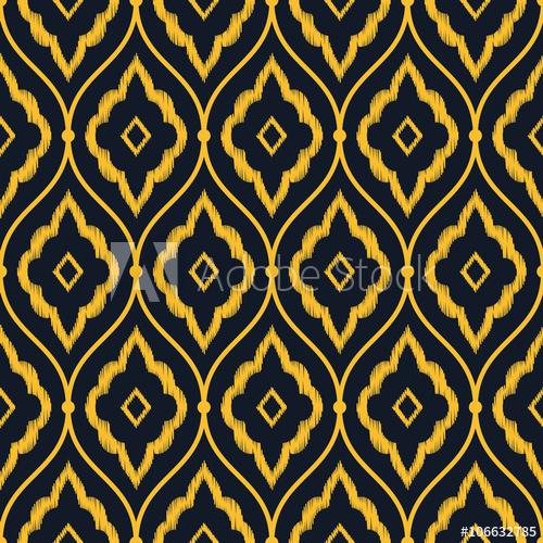 500x500 Seamless Neon Orange Vintage Persian Ikat Pattern Vector