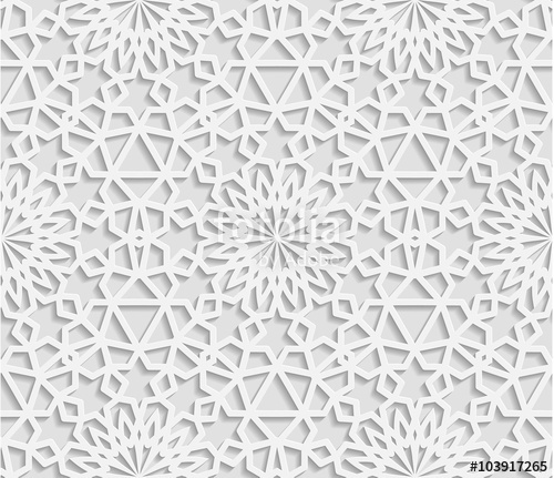 500x431 Seamless White Geometric Pattern, East Ornament, Indian Ornament