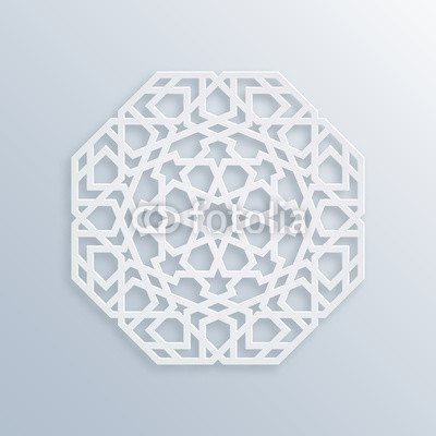 400x400 Islamic Geometric Pattern. Vector Muslim Mosaic, Persian Motif