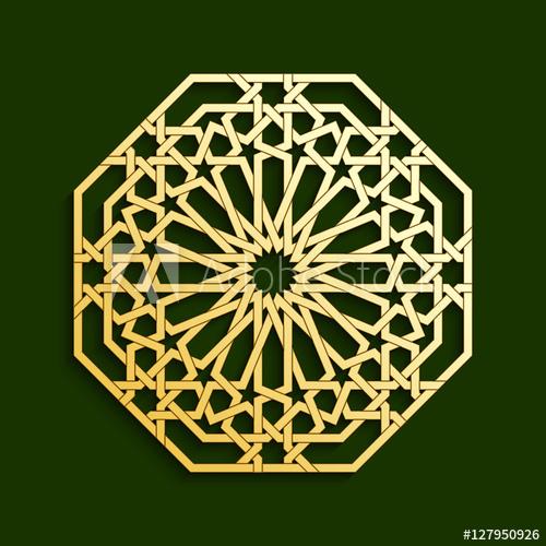 500x500 Islamic Golden Geometric Pattern. Vector Muslim Mosaic, Persian