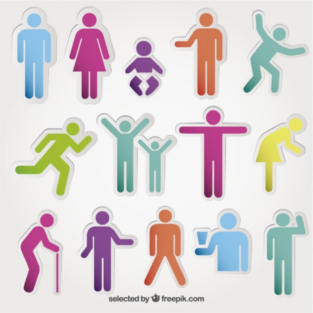 626x626 Colored People Icons Vector Free Download