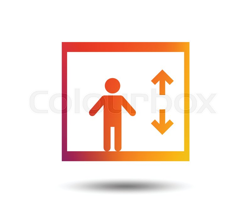 800x647 Elevator Sign Icon. Person Symbol With Up And Down Arrows. Blurred