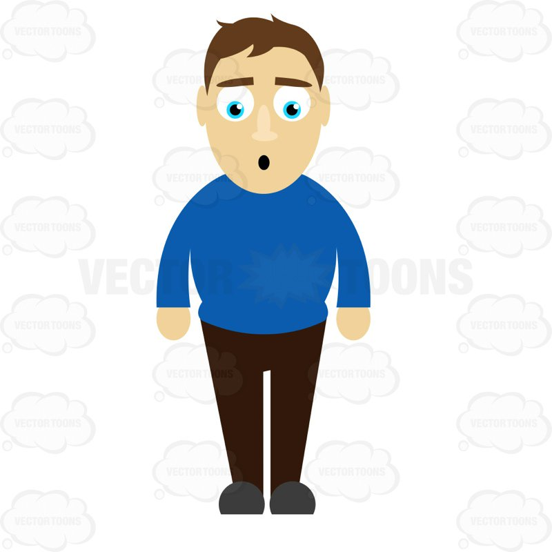 800x800 Man Standing With A Surprised Look On His Face Clipart By Vector