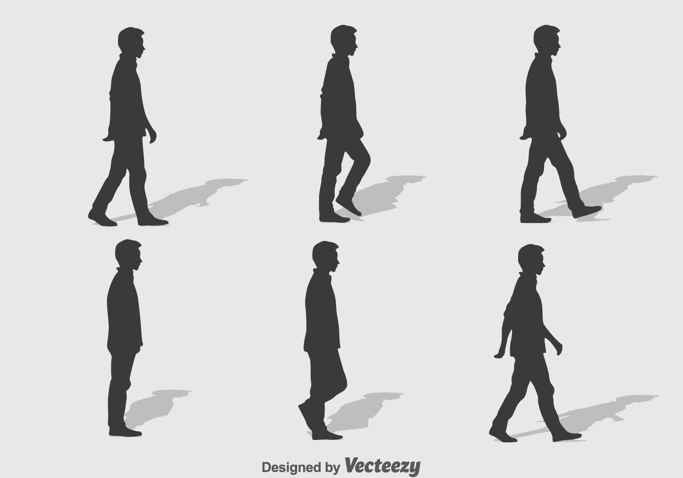 1400x980 People Walking Free Vector Art