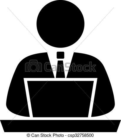 411x470 Person Using Computer, Vector Icon.