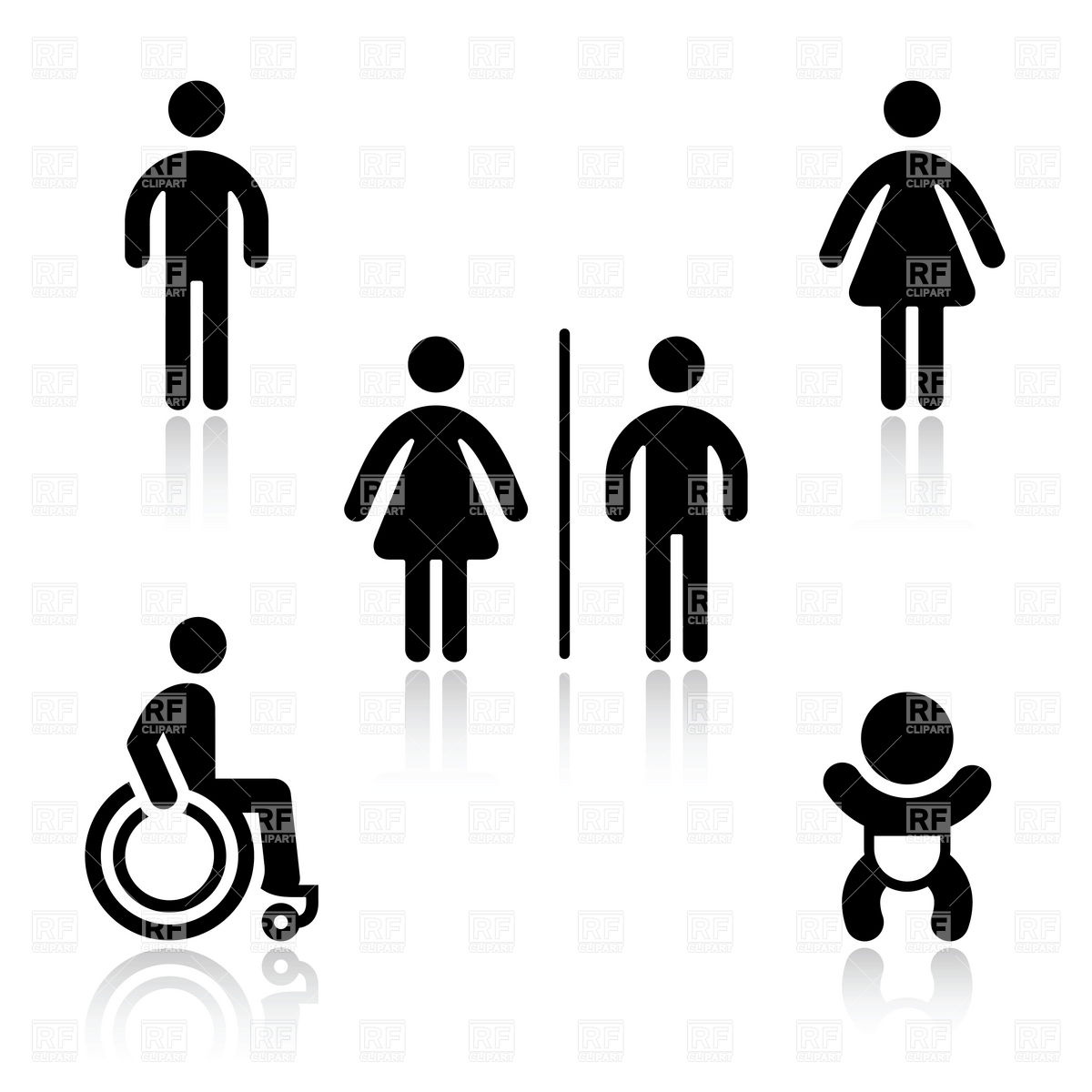 1200x1200 Toilet (Wc) And Baby Changing Room Pictograms