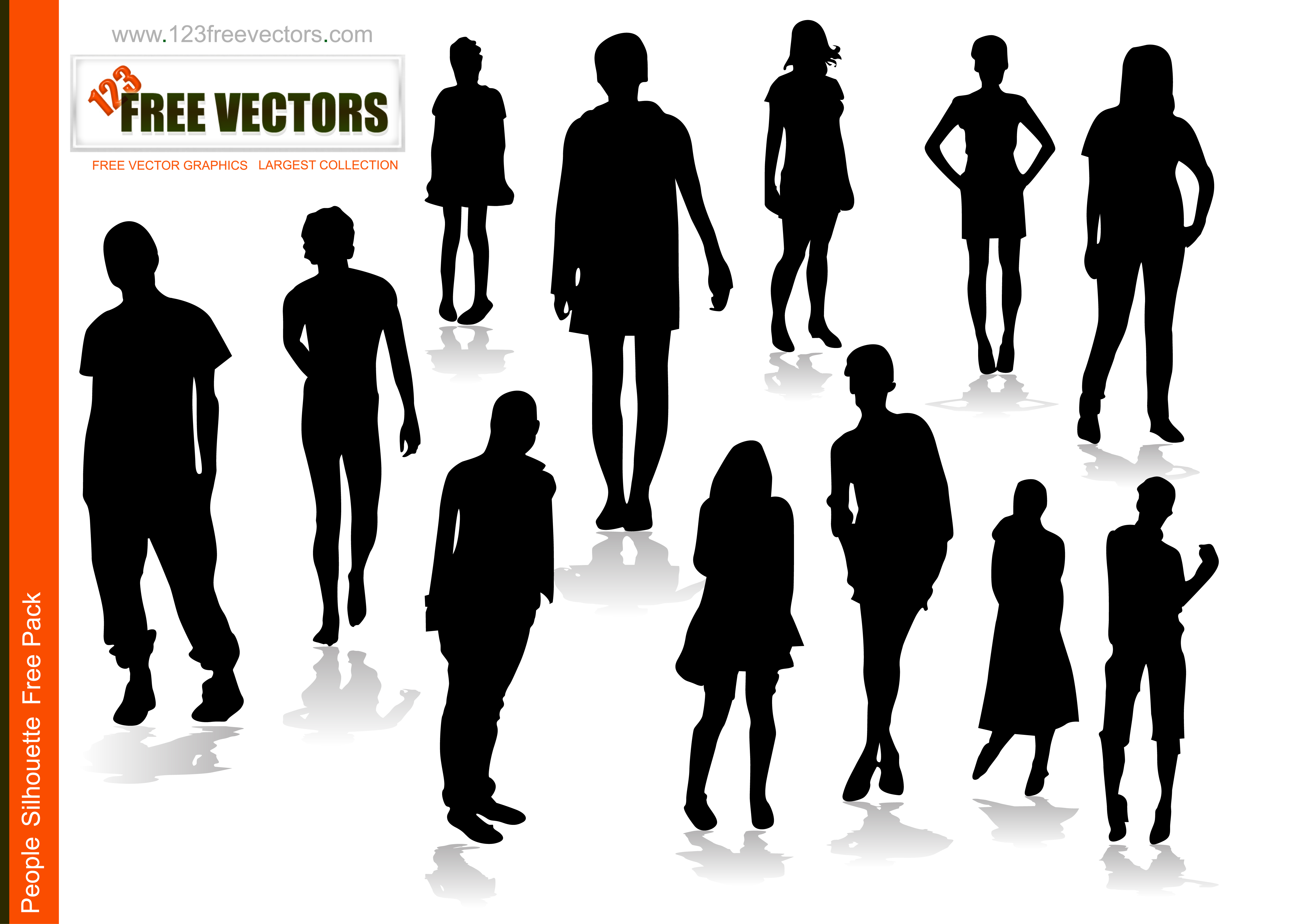 4961x3542 People Silhouettes Free Vector 123freevectors
