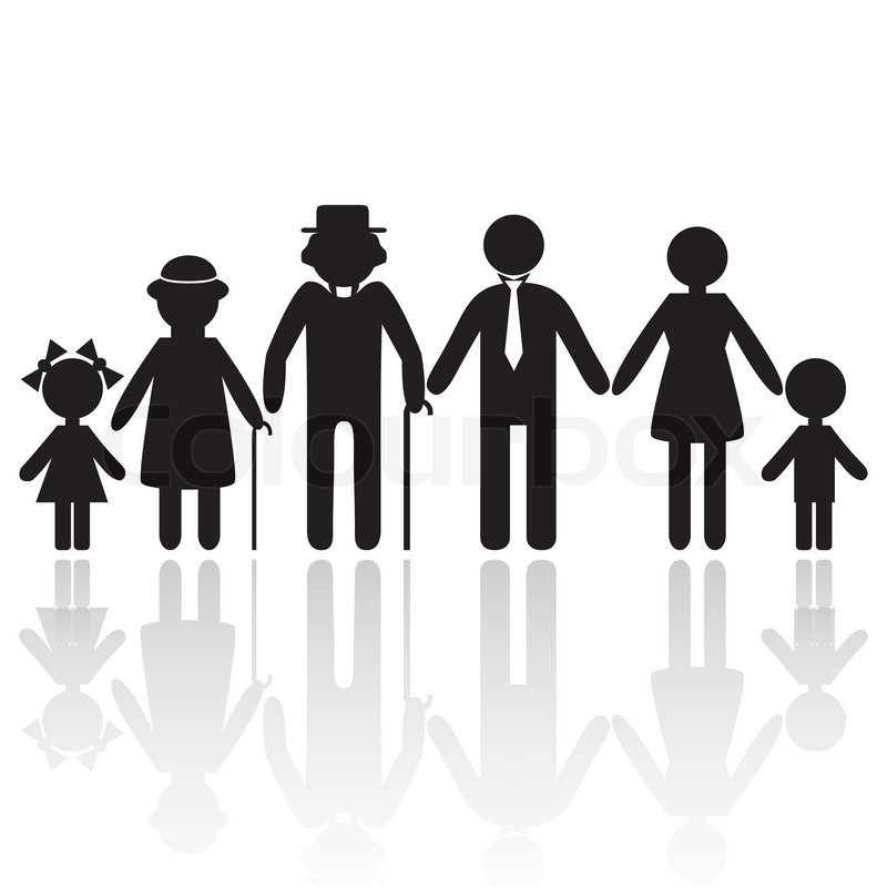 800x800 People Silhouette Family Icon. Person Vector Woman, Old Man. Kid