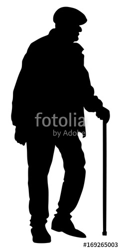 243x500 Old Man Person Walking With Stick. Vector Character Isolated On