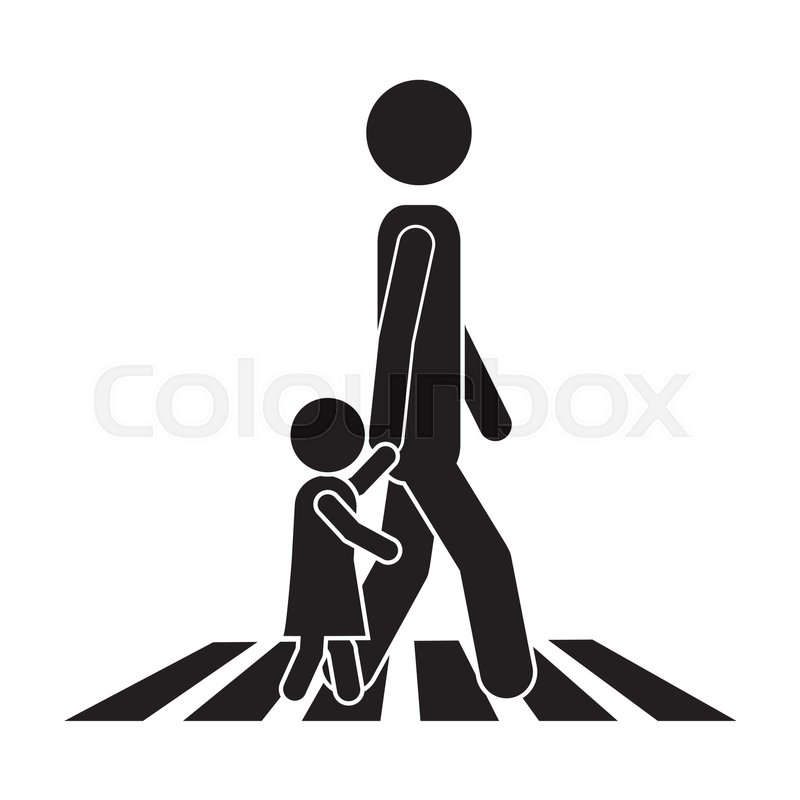 800x800 Person Walking The Street With A Little Kid Icon Over White