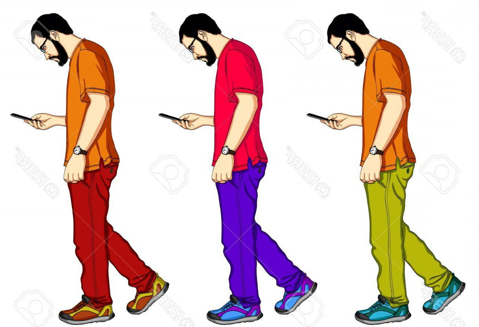 1560x1066 Photostock Vector A Set Of Vector Figures Of A Man Walking And