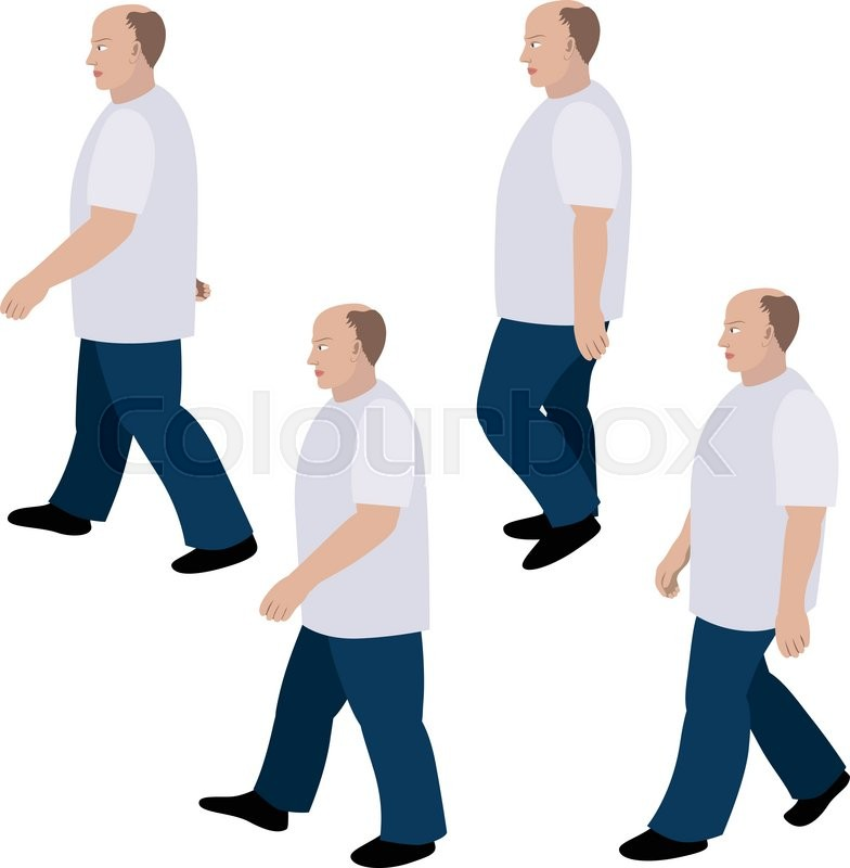 784x800 Set Of Position A Person Walking In Jeans And T Shirt Stock