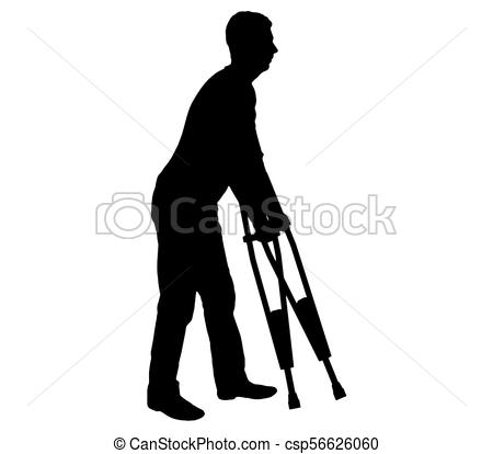 450x414 Vector Silhouetteof A Disabled Man With Crutches Walking. The