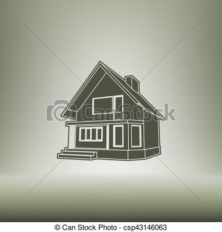 450x470 Building Perspective 3d. Drawing Of The Suburban House. House 3d
