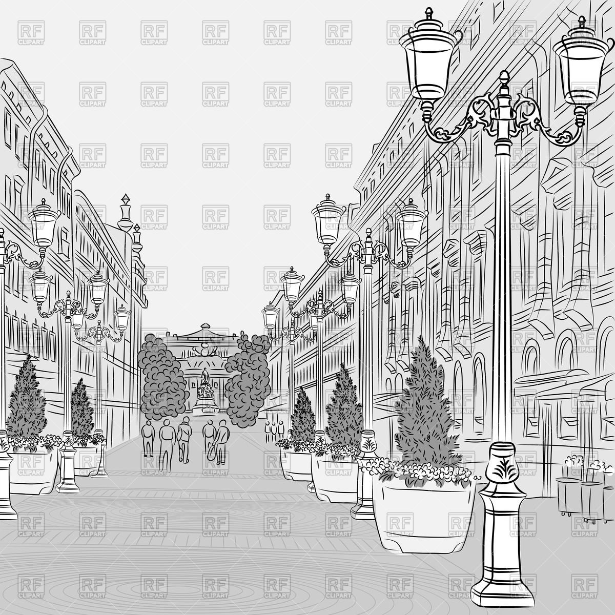 1200x1200 Sketch Of Cityscape In Perspective Vector Image Vector Artwork