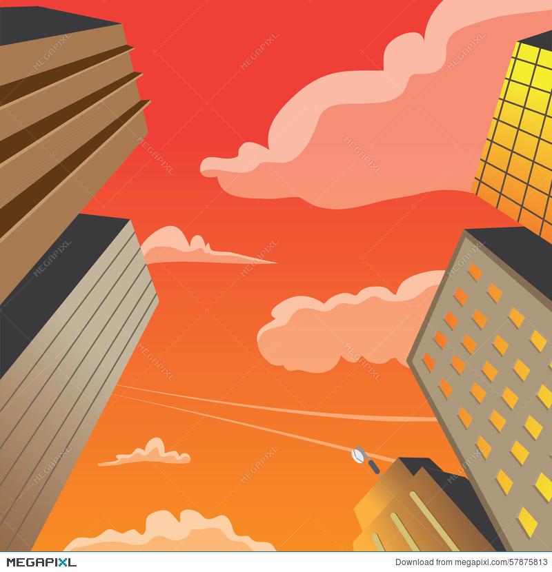 800x830 Skyscraper Building Perspective Vector Night Scene Illustration