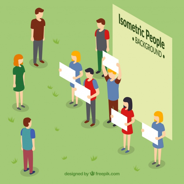 626x626 Background Of People With White Posters In Isometric Perspective