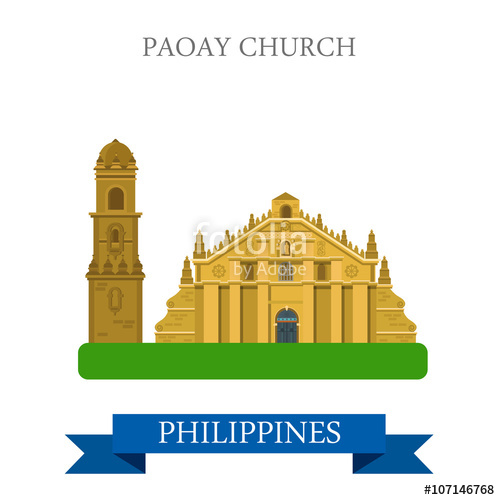 500x500 Paoay Church Philippines Vector Flat Attraction Sightseeing Stock