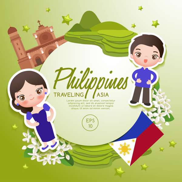 600x600 Philippines Travel Cartoon Template Vector Free Download