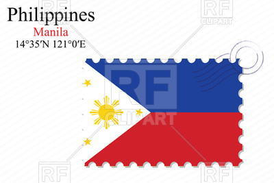 400x267 Postage Stamp With Flag Of Philippines Vector Image Vector